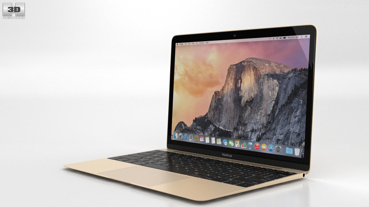 360 View Of Apple Macbook Gold 3d Model Hum3d Store Mmgm2
