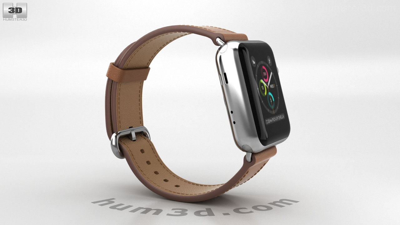f8394f747 360 view of Apple Watch Series 2 38mm Stainless Steel Case Saddle Brown  Classic Buckle 3D model - Hum3D store