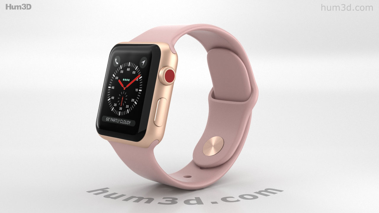360 View Of Apple Watch Series 3 38mm Gps Cellular Gold Aluminum Case Pink Sand Sport Band 3d Model Hum3d Store