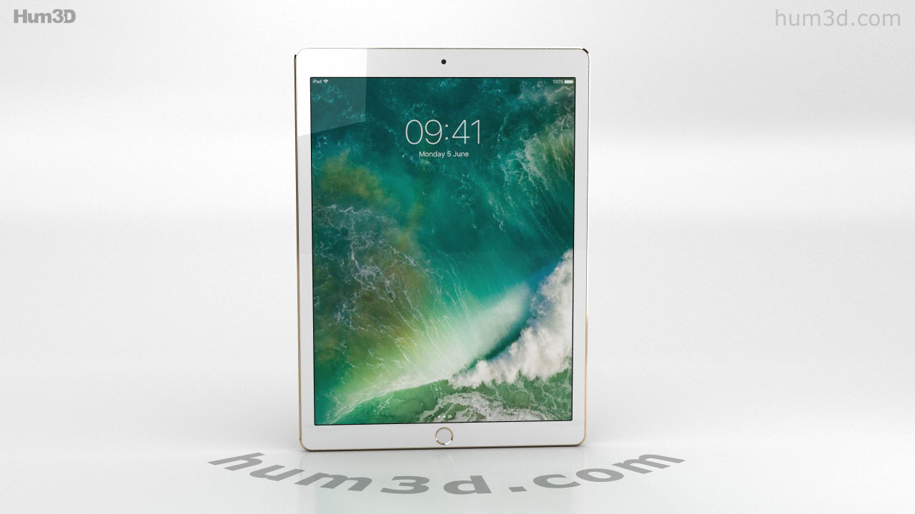 360 View Of Apple Ipad Pro 12 9 Inch 2017 Gold 3d Model Hum3d Store