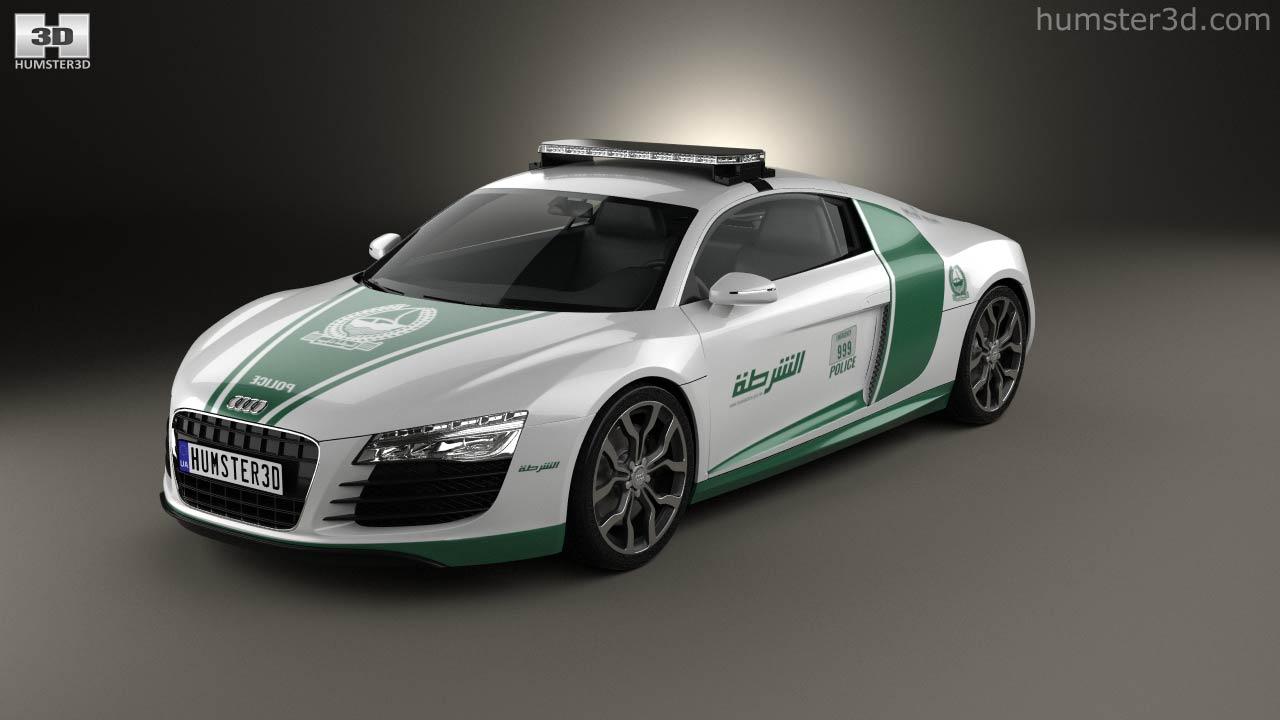 360 View Of Audi R8 Police Dubai 2013 3d Model Hum3d Store