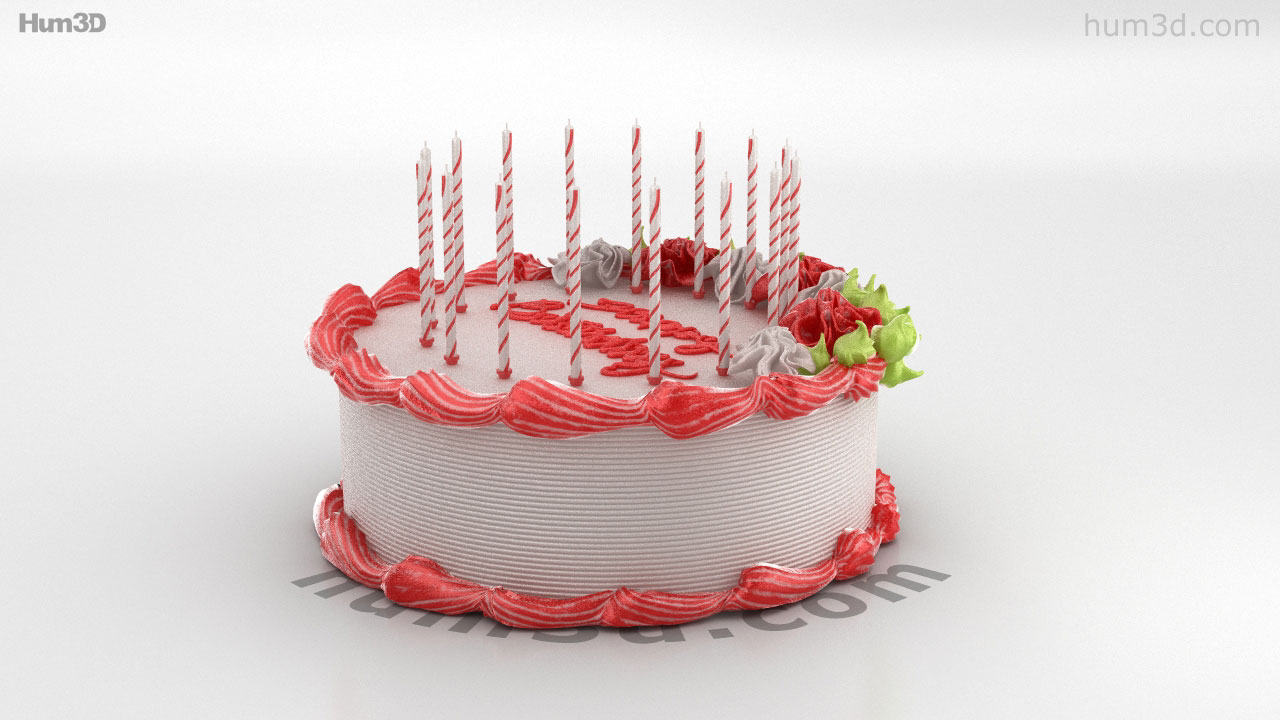 360 View Of Birthday Cake 3d Model Hum3d Store