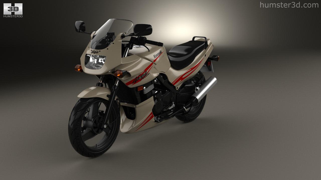 Kawasaki Ninja 500R 2007 3d Model