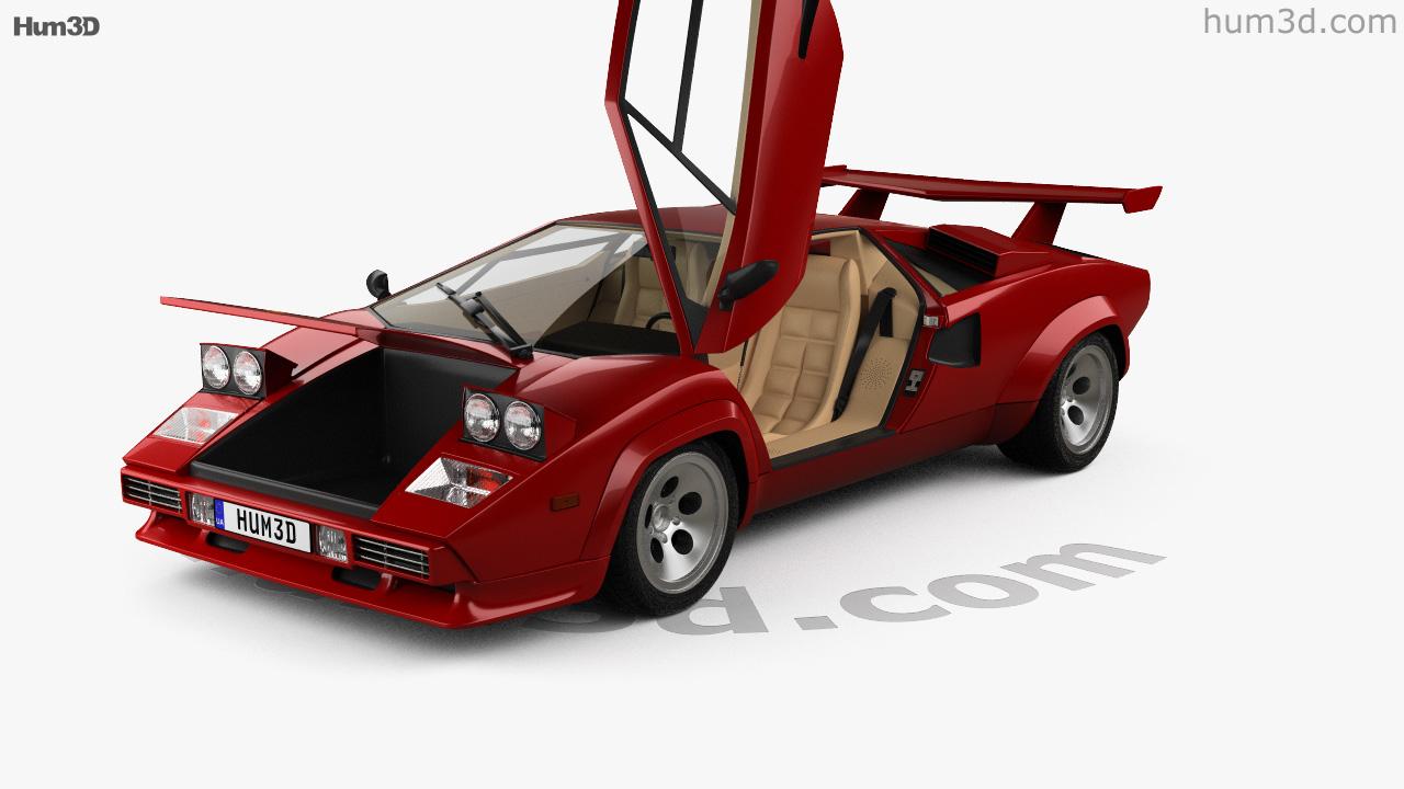 360 View Of Lamborghini Countach 5000 Qv With Hq Interior 1985 3d