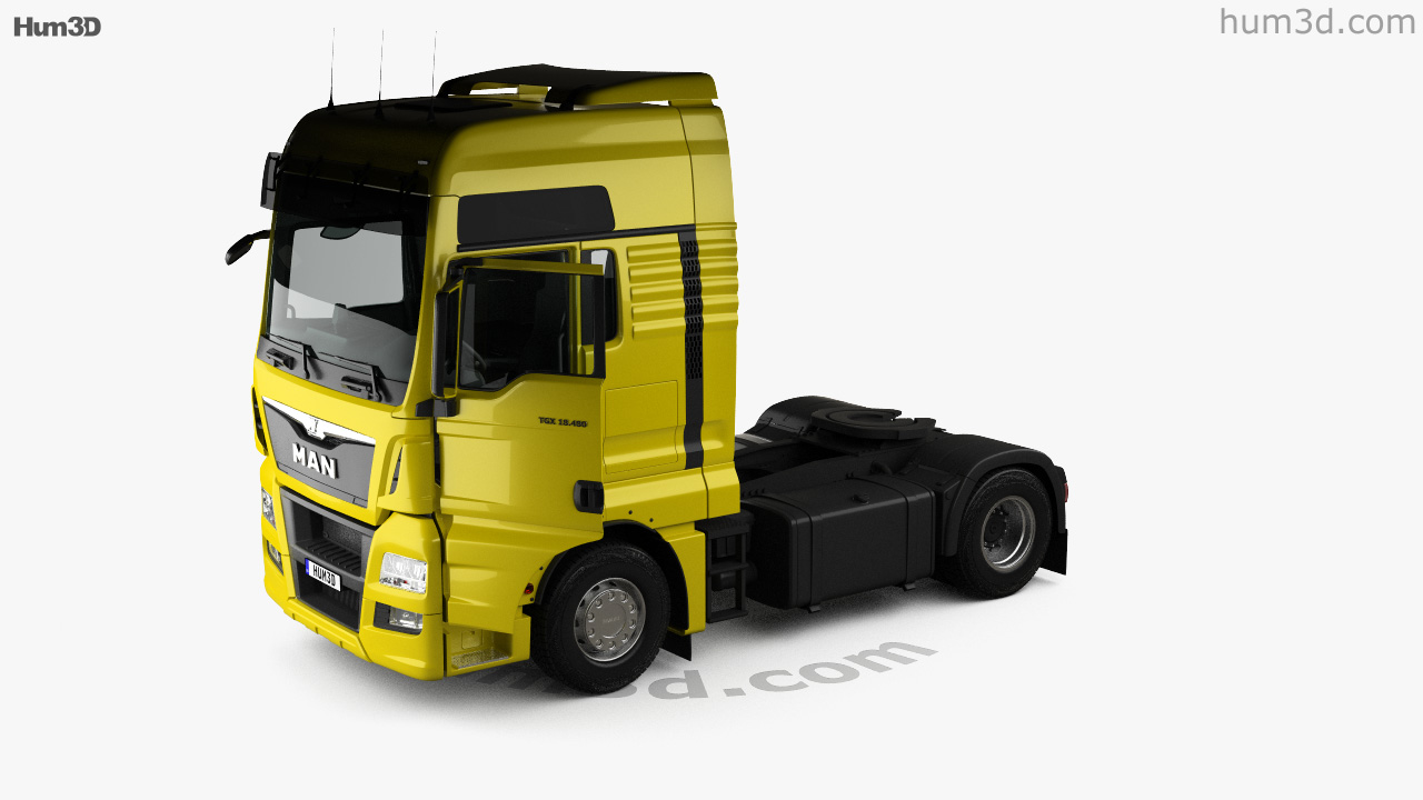 360 view of MAN TGX Tractor Truck 2-axle with HQ interior 2012 3D