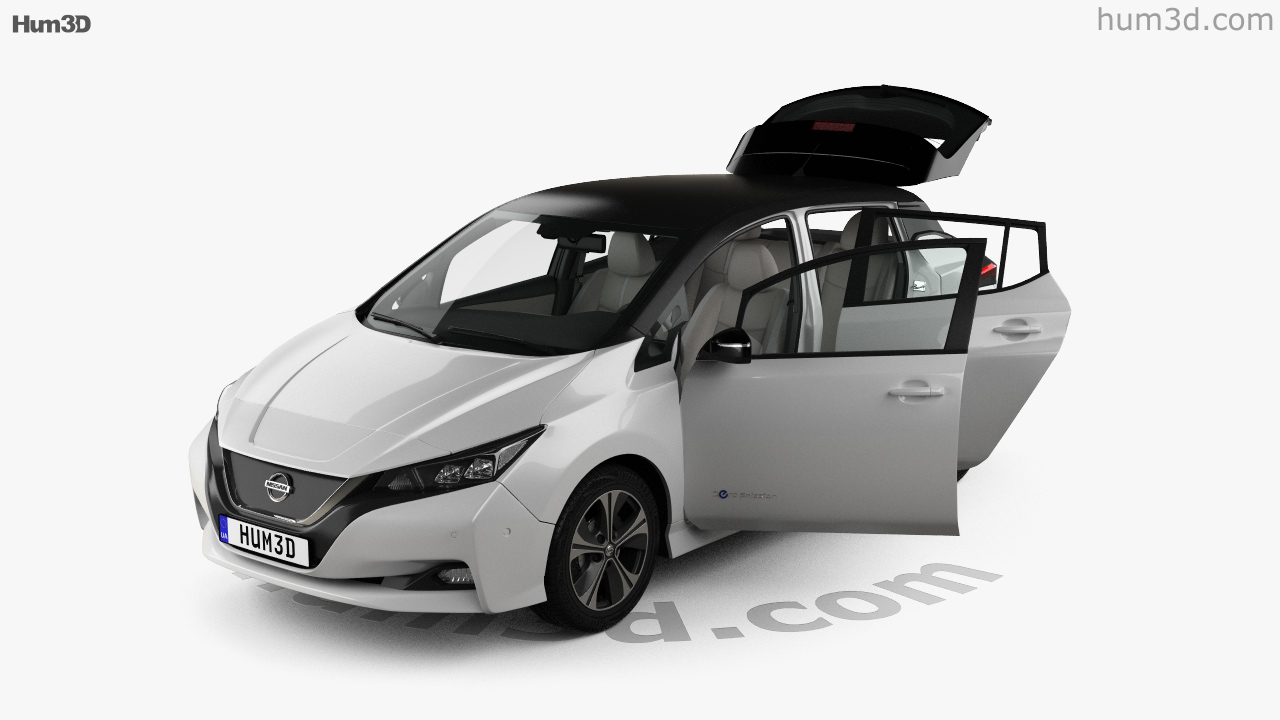 Nissan Leaf With HQ Interior 2018 3d Model