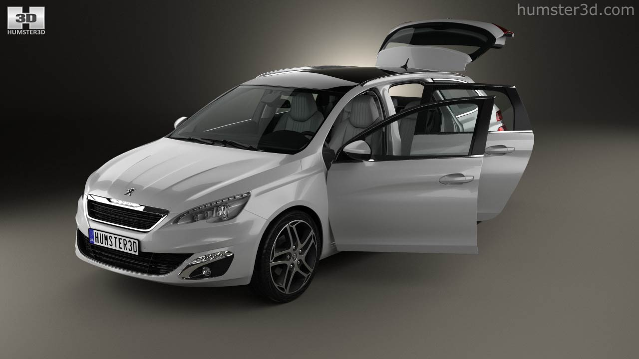 360 view of Peugeot 308 SW with HQ interior 2014 3D model - Hum3D store