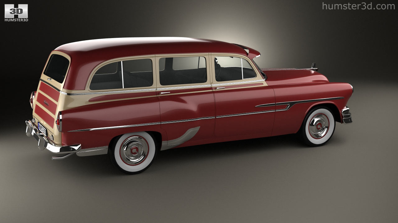360 View Of Pontiac Chieftain Deluxe Station Wagon 1953 3d Model Sedan