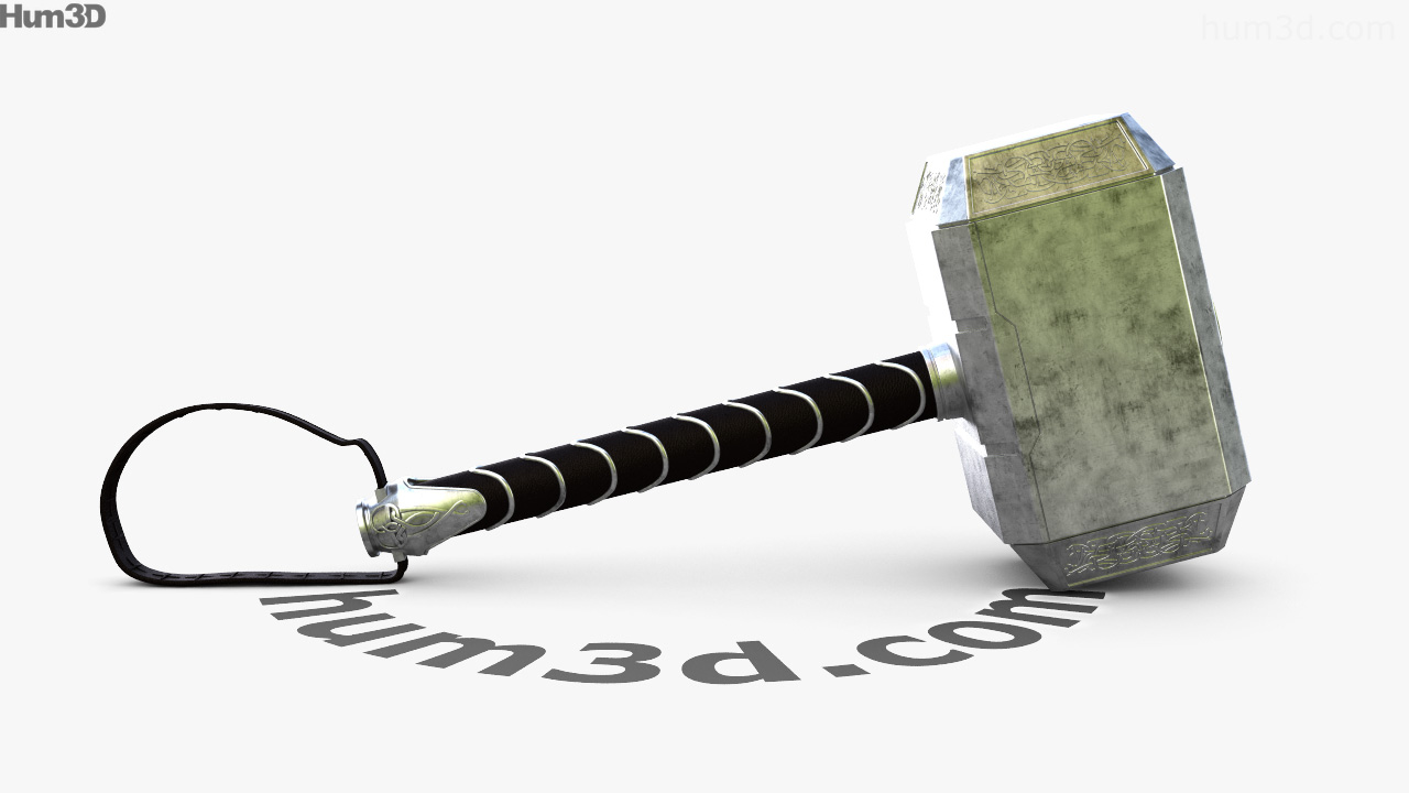 360 view of thor hammer 3d model hum3d store