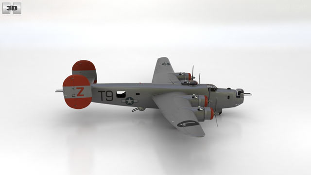360 view of Consolidated B-24 Liberator 3D model - Hum3D store