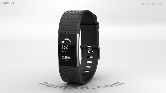 360 view of Fitbit Charge 2 Black 3D model - Hum3D store