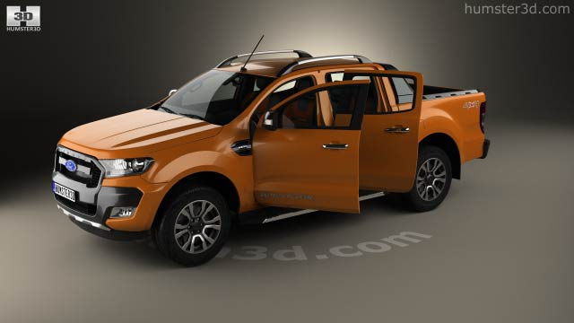 Ford Ranger Double Cab >> Ford Ranger Double Cab Wildtrak With Hq Interior 2016 3d Model