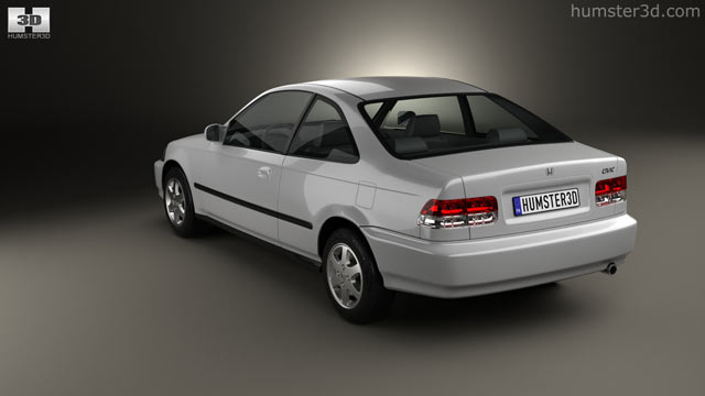 Delightful Honda Civic Coupe 1996 3D Model   Hum3D