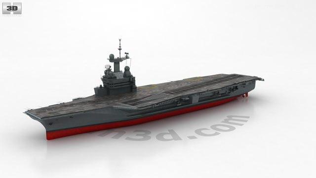 360 view of Charles de Gaulle aircraft carrier 3D model